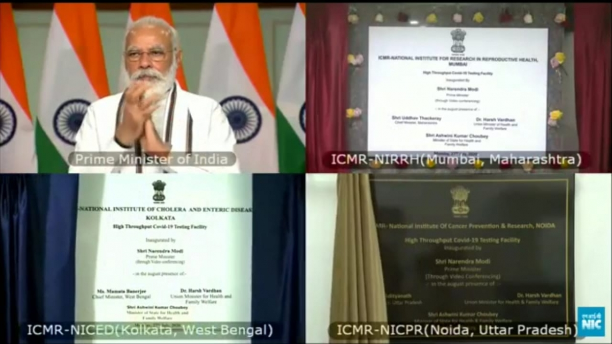 Shri Narendra Modi, Hon. PM, Govt. of India inaugurating High Throughput Covid-19 Testing facility at NIRRH Mumbai, July 27, 2020