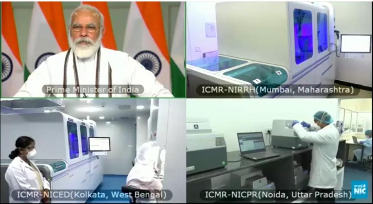 Shri Narendra Modi, Hon. PM, Govt. of India inaugurating High Throughput Covid-19 Testing facility at NIRRH Mumbai, July 27, 2020
