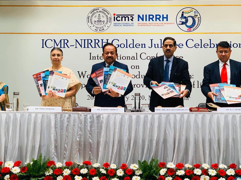Policy briefs released by Dr Harsh Vardhan, Minister of Health and Family Welfare, Earth Sciences and Science and Technology  with Dr Balaram Bhargava, DG ICMR, DR R S Sharma, ICMR and Dr Smita Mahale, Director at the Golden Jubilee celebrations of ICMR-NIRRH and Inauguration of International Conference on Women's Reproductive Health, February 20, 2020
